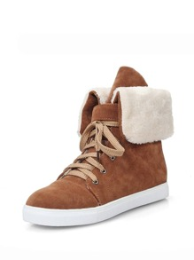 Faux Suede Fur Lined Lace Up High Top Shoes
