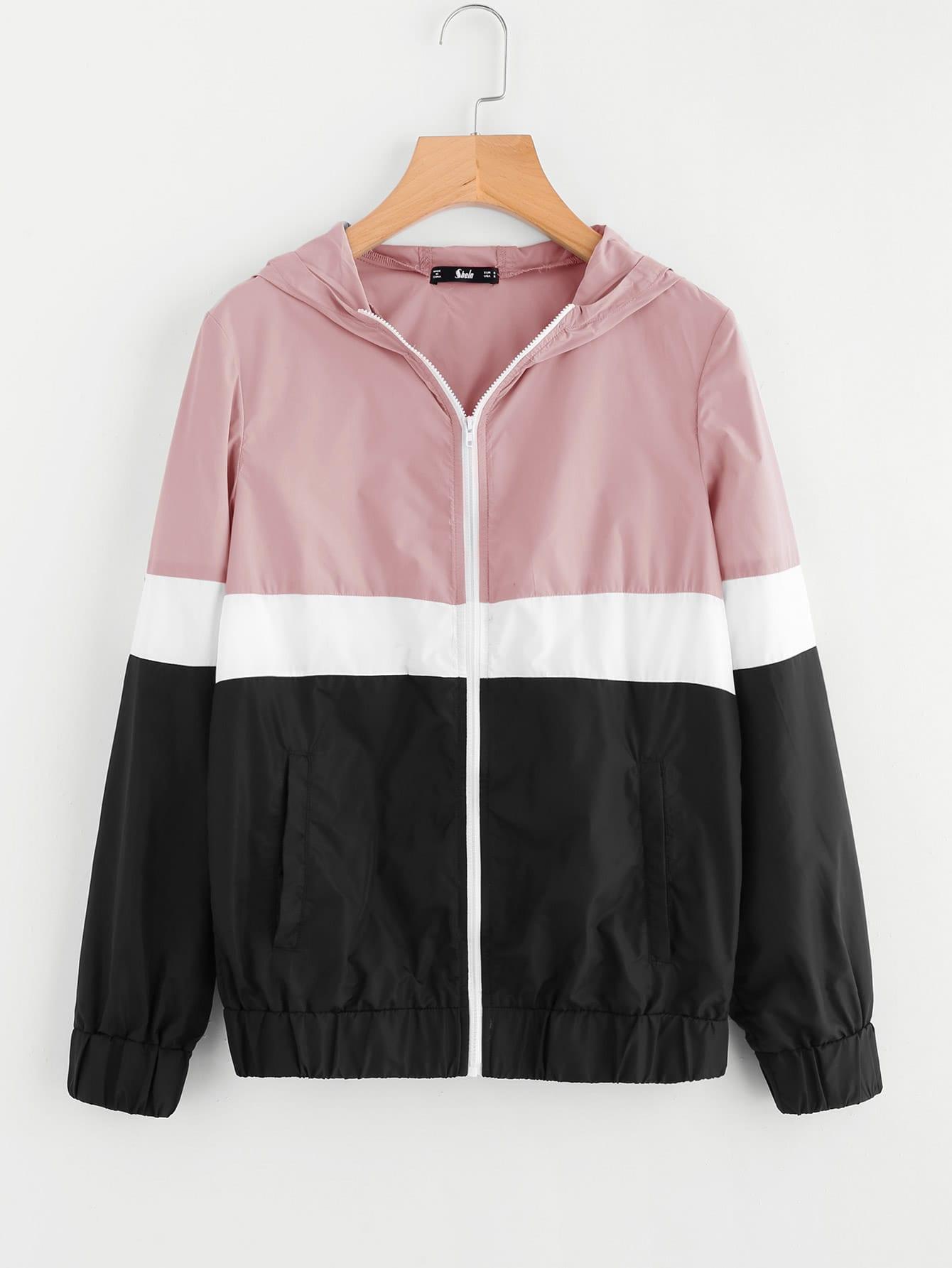 Cut And Sew Hoodie Windbreaker Jacket cut and sew hoodie