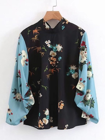 Contrast Sleeve Tie Back Floral Blouse
