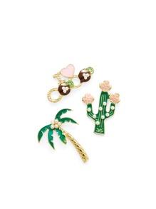 Palm Tree & Cactus Brooch Set