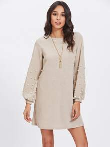 Pearl Beaded Bishop Sleeve Dress