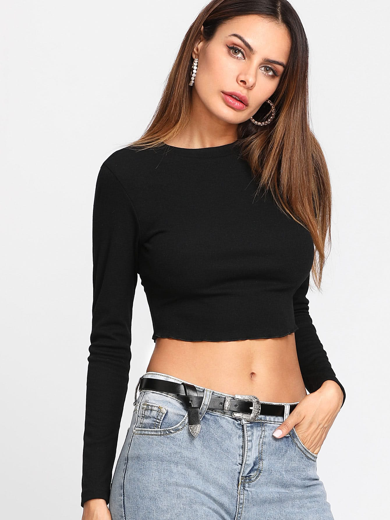 Ribbed Crop Tee tee171115071