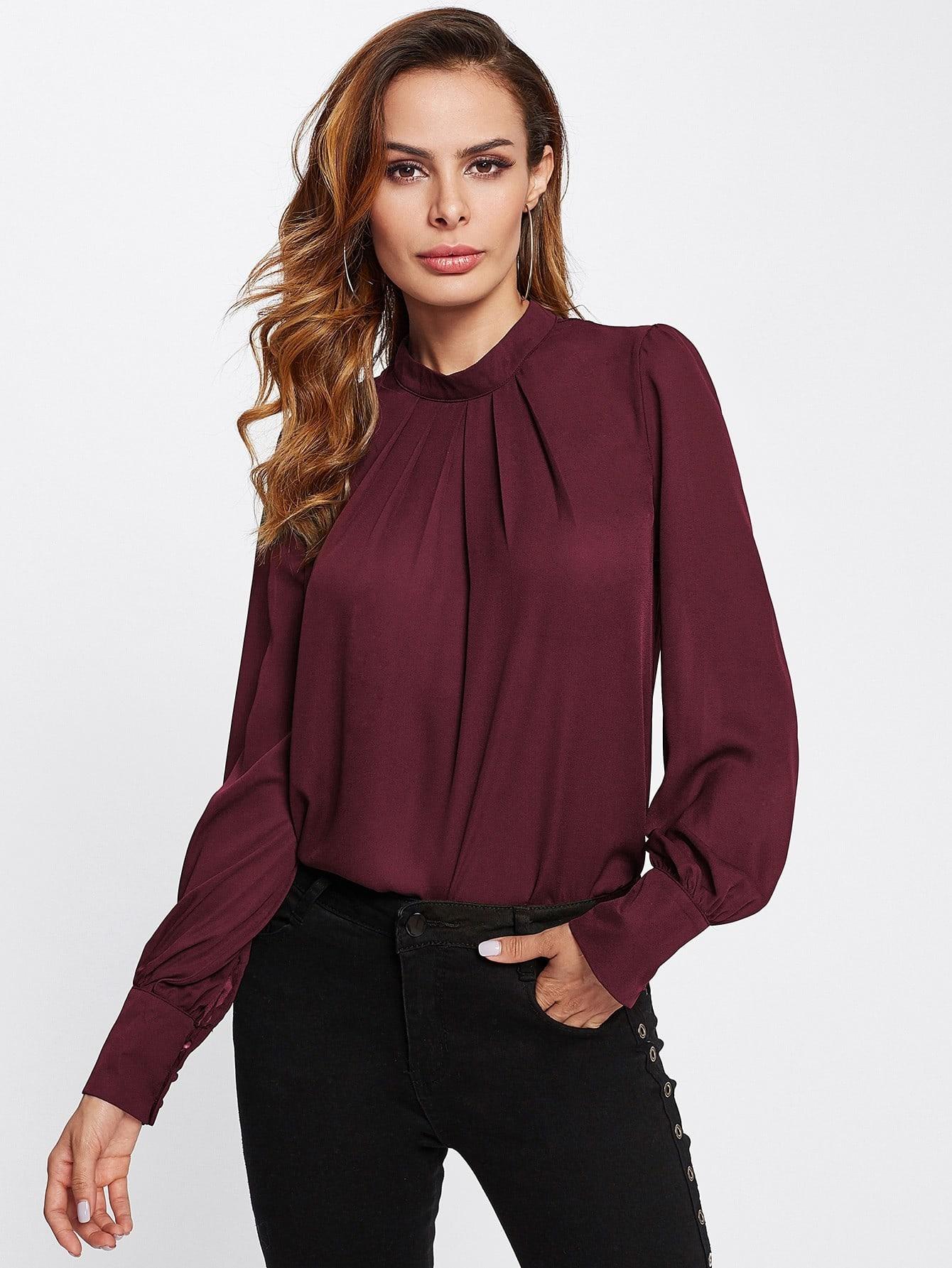Button Keyhole Back Puff Sleeve Chiffon Blouse button up frilled puff sleeve blouse