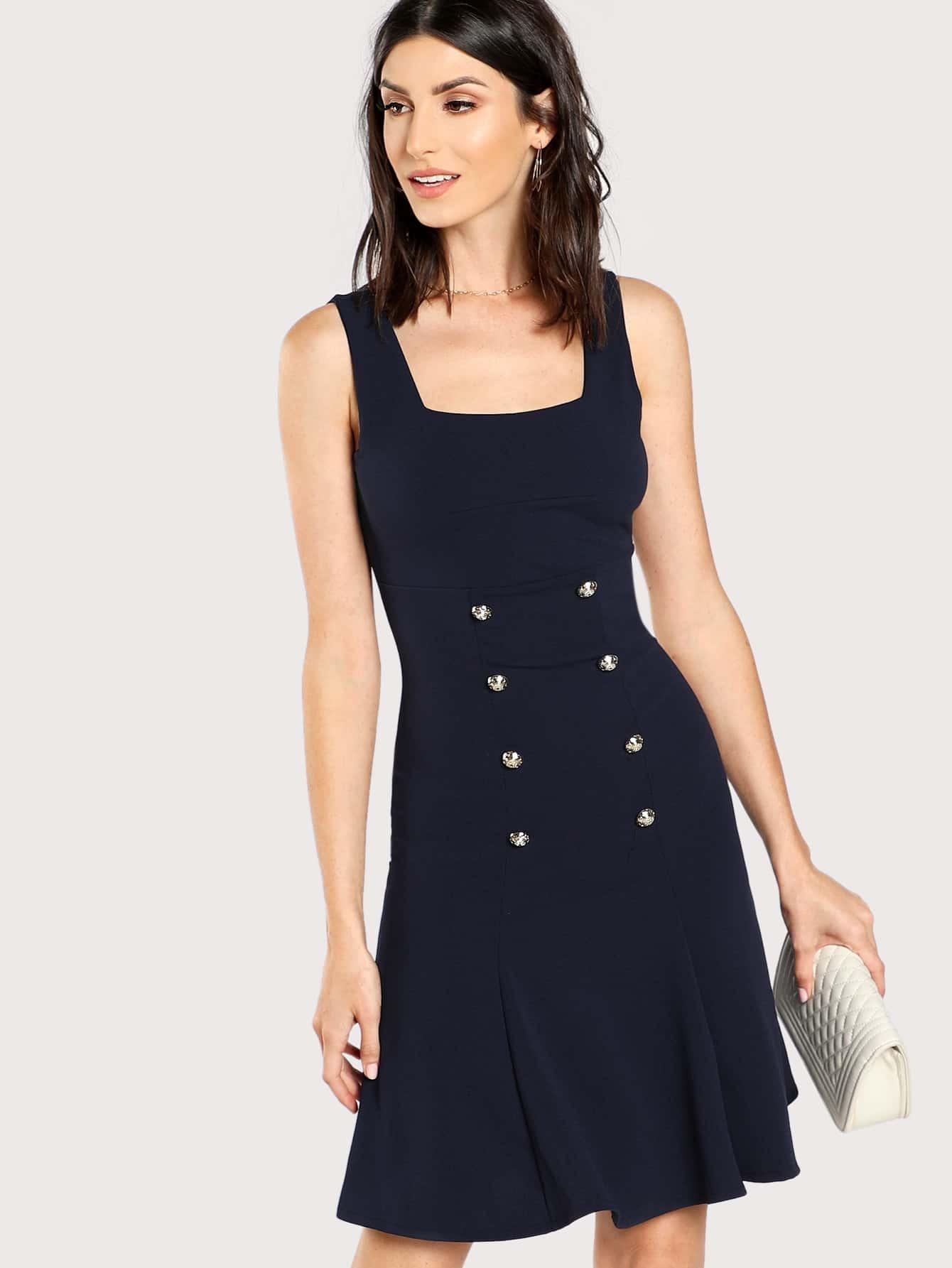 Button Embellished V Back Dress button embellished fit