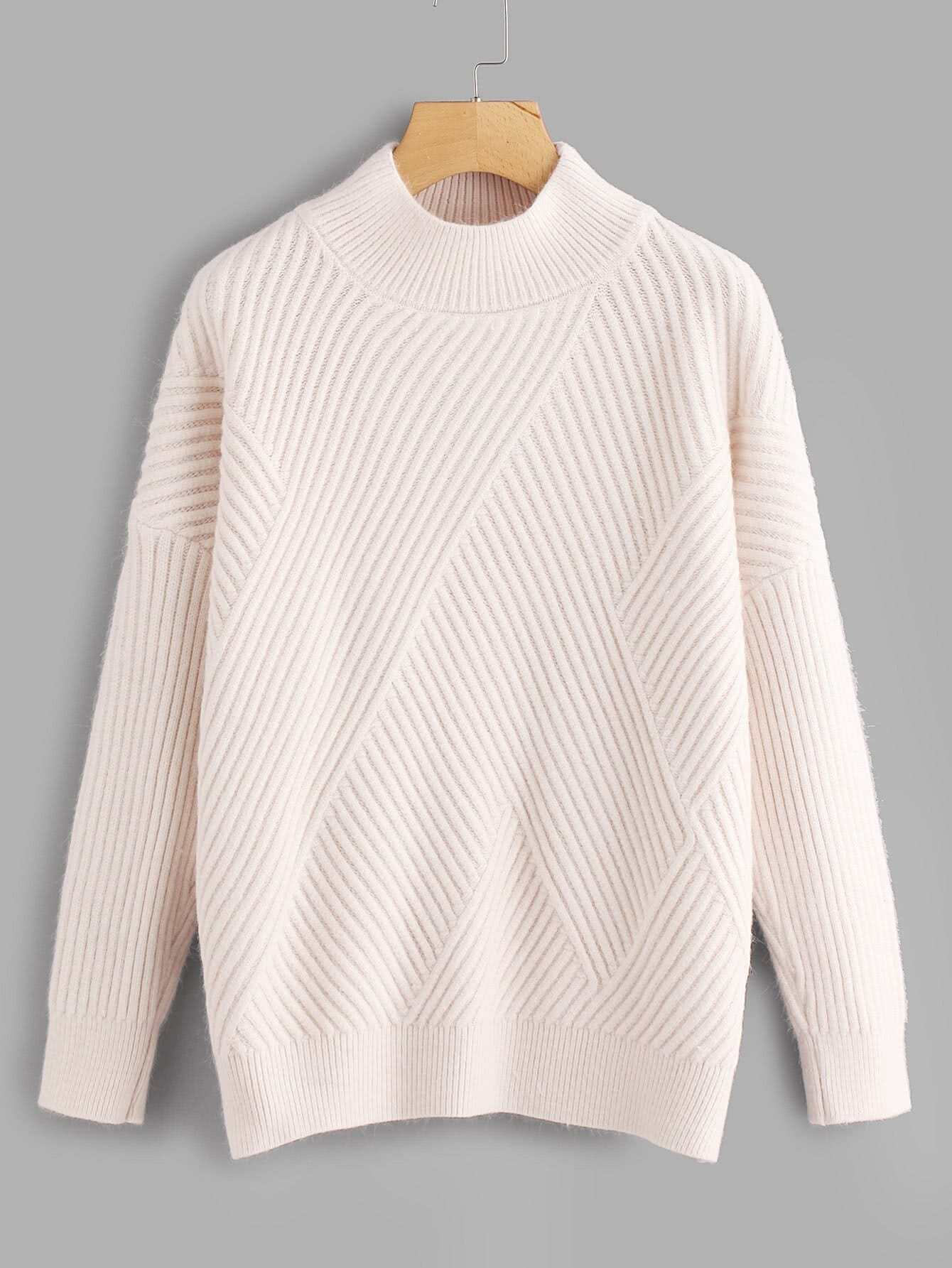 Side Slit Rib Knit Sweater