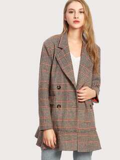 Notch Collar Ruffle Hem Plaid Coat