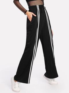 Striped Front Drawstring Wide Leg Pants