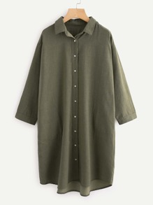 Dolphin Hem Shirt Dress