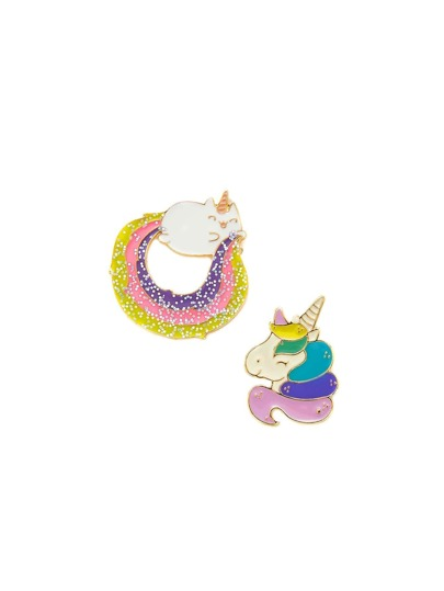 Glitter Cartoon Design Brooch Set