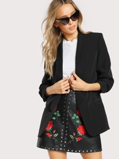 Shawl Collar Solid Boxy Blazer