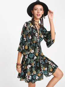 Trumpet Sleeve Tassel Button Front Dress
