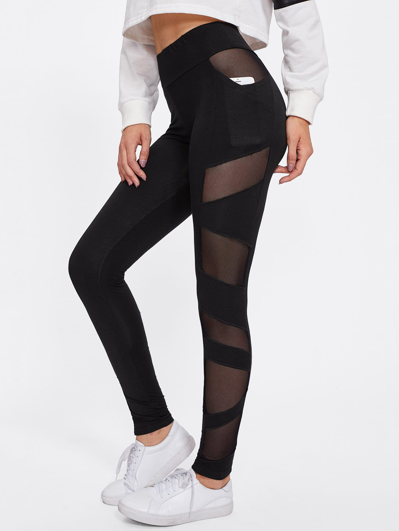 Sheer Mesh Panel Leggings sheer plus size mesh panel workout leggings