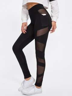 Sheer Mesh Panel Leggings