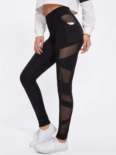 Leggings avec maille transparent