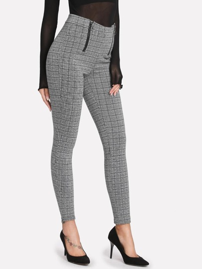 Zipper Fly High Waist Plaid Pants