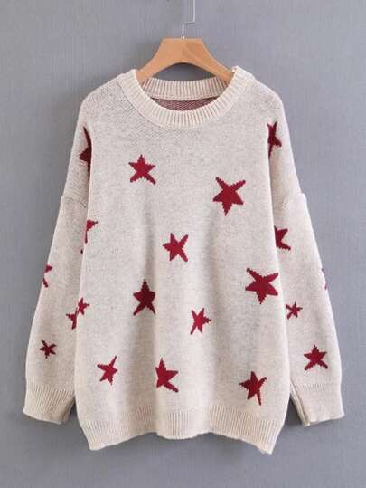 Star Overlay Drop Shoulder Sweater