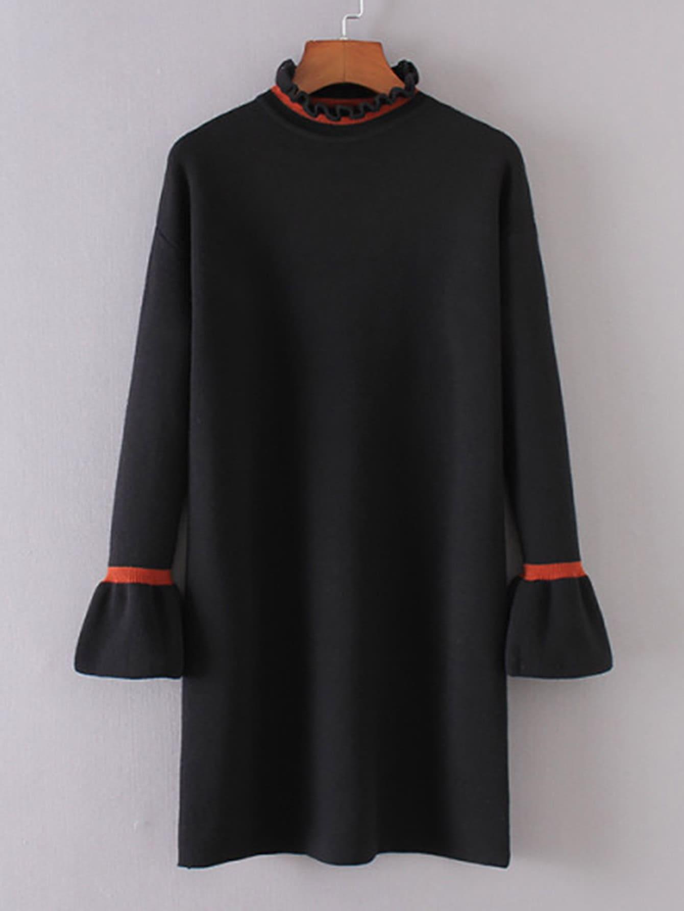 Contrast Trim Frill Neck Sweater Dress