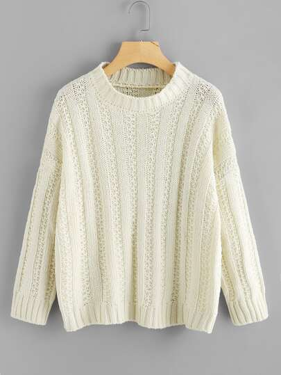 Drop Shoulder Mixed Knit Sweater