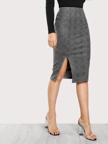 Slit Front Plaid Skirt