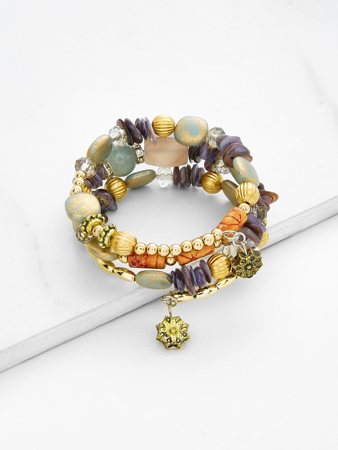 Flower Charm Beaded Layered Bracelet plain beaded bracelet