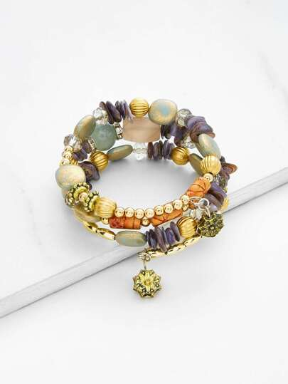 Flower Charm Beaded Layered Bracelet