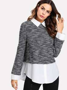 Contrast Curved Hem Marled 2 In 1 Top
