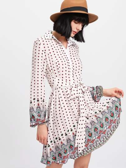 Ornate Print Tie Waist Shirt Dress