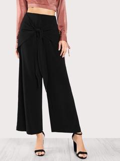 Front Tie Chiffon Pants BLACK