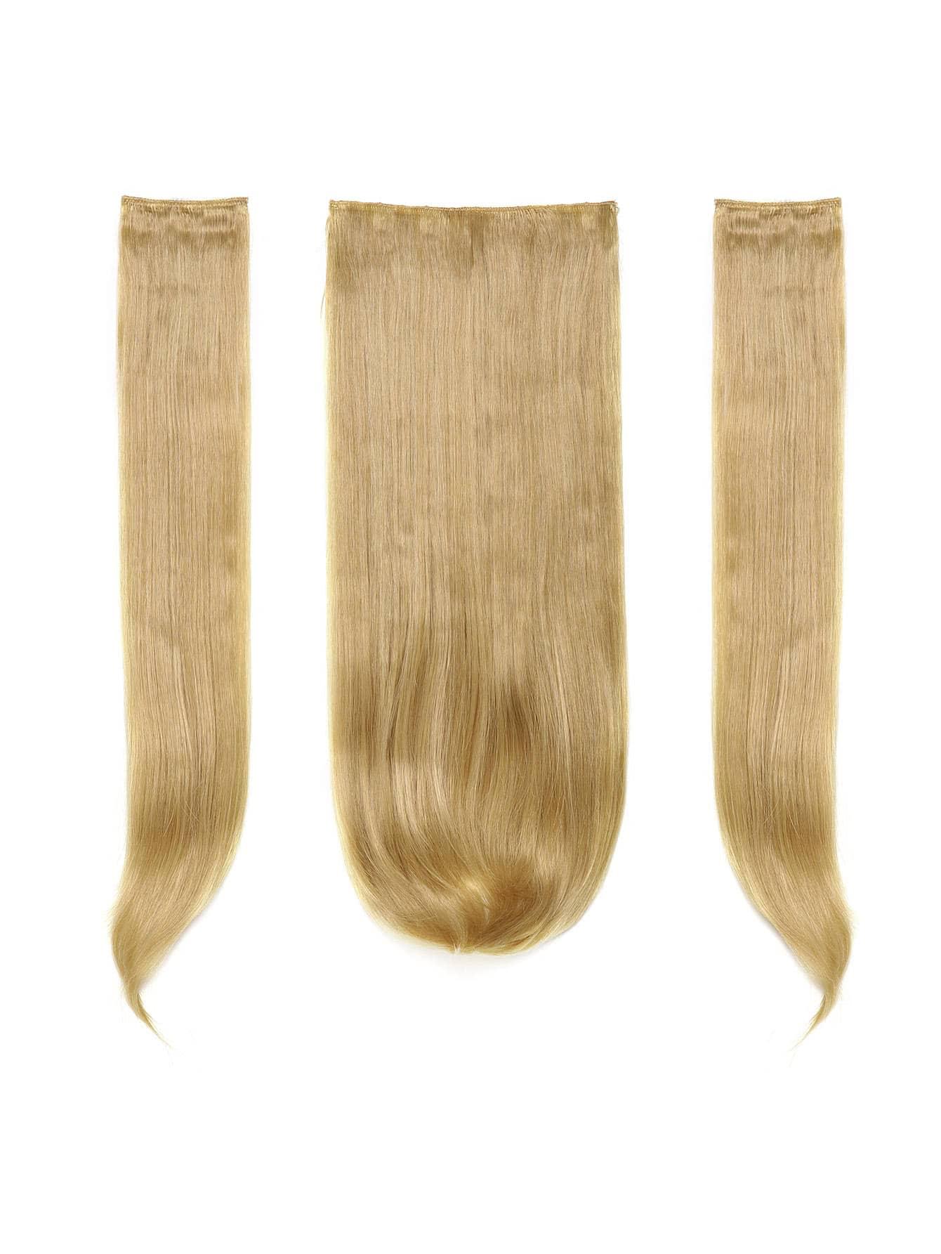 Купить Золотистые синтетические волосы с заколкой 3 шт., null, SheIn