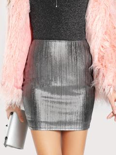 Metallic Zipper Back Bodycon Skirt