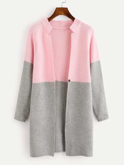 Two Tone Single Button Knit Cardigan