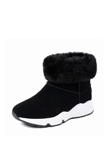 Faux Fur Lined Suede Ankle Boots