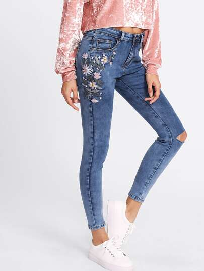 Botanical Embroidery Ripped Knee Jeans