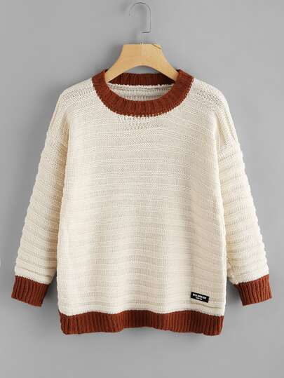 Contrast Trim Patch Detail Knit Sweater