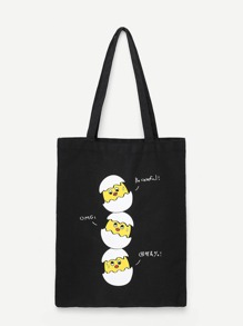 Cartoon Print Canvas Tote Bag