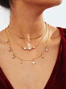 Star Design Layered Chain Necklace