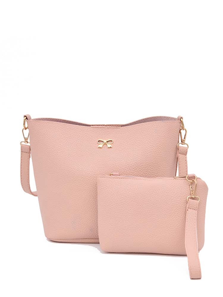 Bow Detail PU Shoulder Bag With Clutch 13911 3911