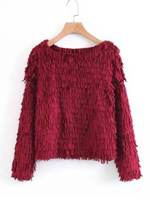 Tiered Fringe Loose Sweater