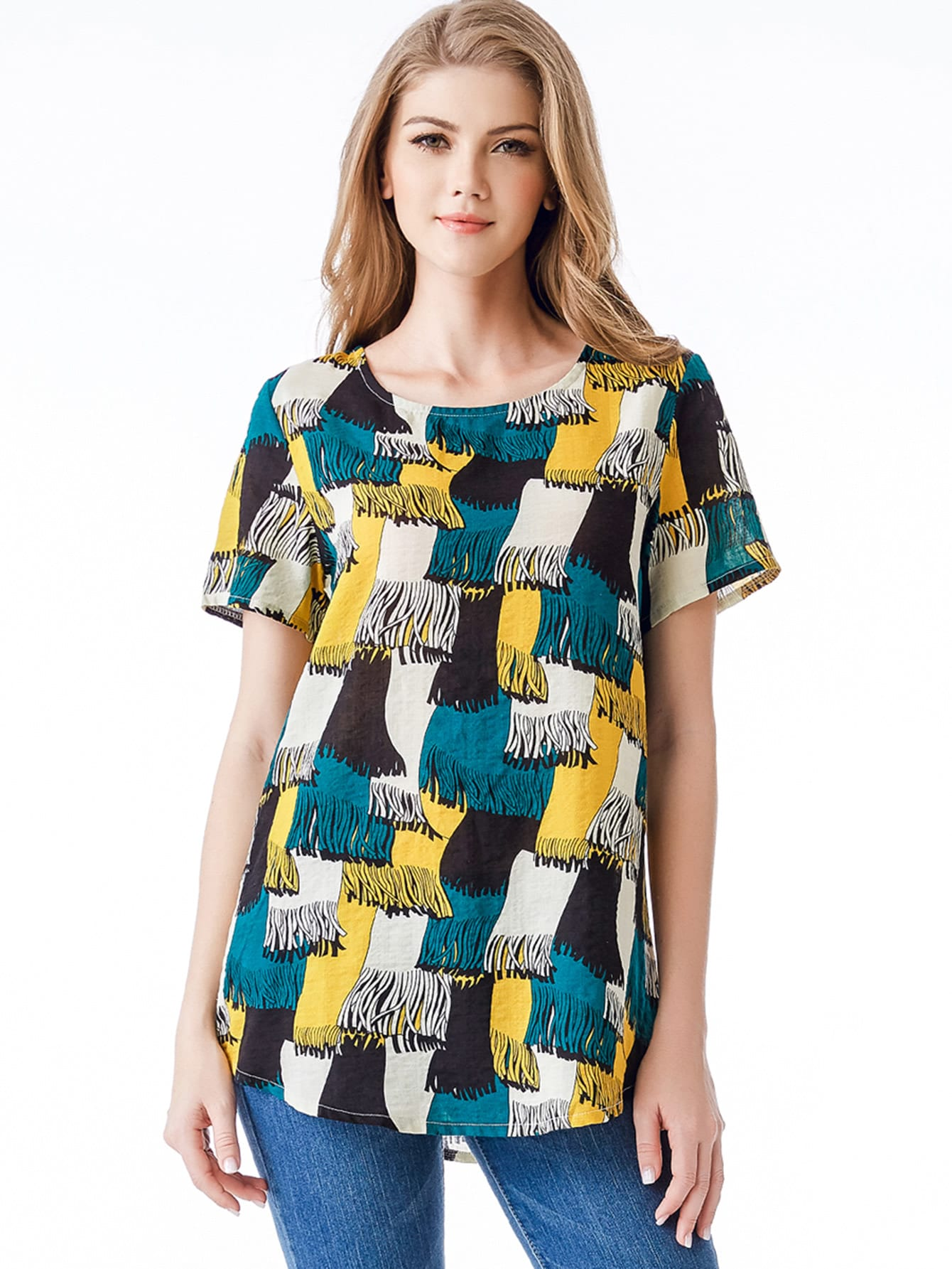 Image of Abstract Print Top