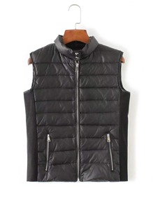 High Neck Zip Up Padded Vest