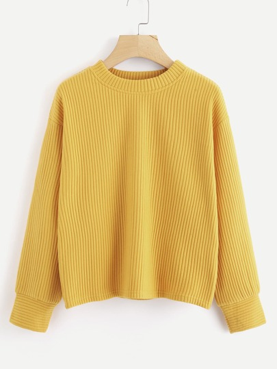 Drop Shoulder Ribbed Sweatshirt