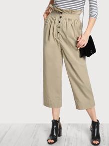 High Rise Shirred Waist Pants TAN