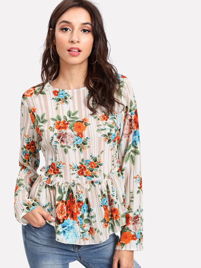 Flower Print Ruffle Hem Top