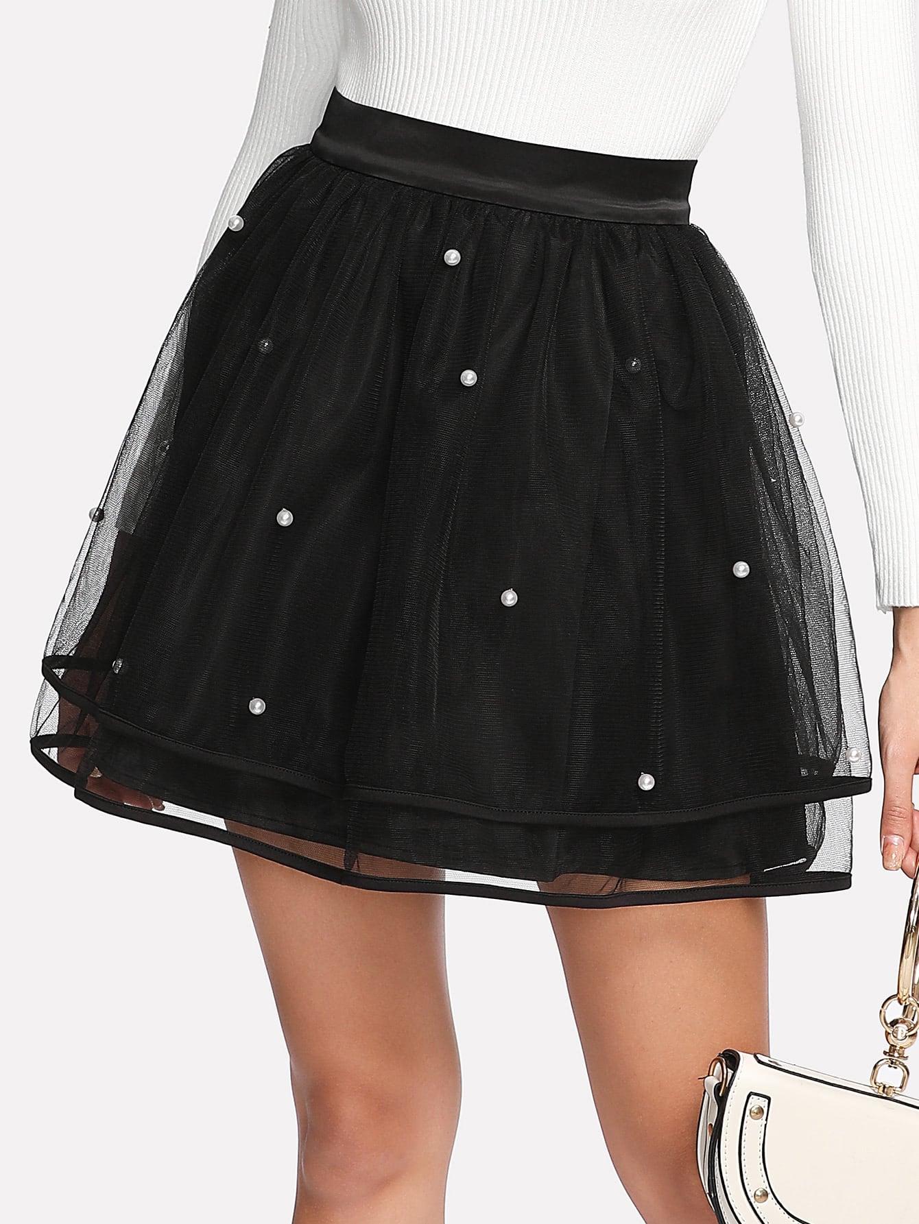 Купить Модная сетчатая юбка с бусинами, Giulia, SheIn
