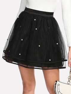 Pearl Beading Mesh Overlay Circle Skirt