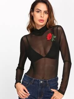 Embroidered Rose Applique Mesh Bodysuit