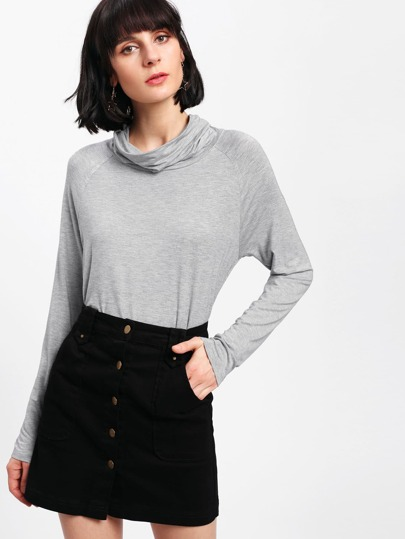 Cowl Neck Heather Knit Tee