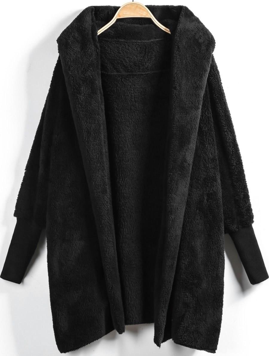 Купить Модное пушистое пальто с капюшоном, null, SheIn