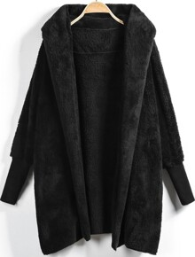 Hooded Open Front Fluffy Coat