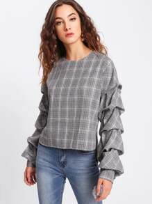 Gathered Sleeve Button Keyhole Back Plaid Top